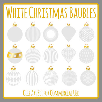 White Christmas Baubles Clip Art Set for Commercial use