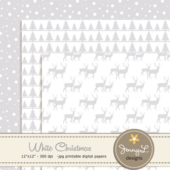 White Christmas Digital Paper, Holiday papers