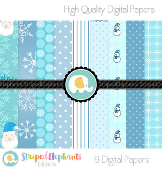 White Christmas Digital Papers