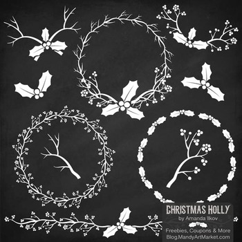 White Christmas Holly Clipart