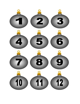 White Christmas Ornament Numbers for Calendar or Counting Activity