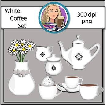 White Coffee Set Clipart