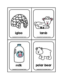 White Color Objects Picture Word Flash Cards