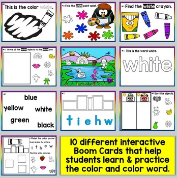 White Color Recognition Color Word Boom Cards (Learning Colors - White)