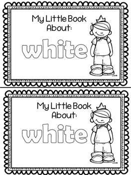 White Color Word Emergent Reader FREEBIE
