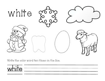 White Color and Write Worksheet