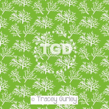 White Coral Pattern on Green digital paper Printable Tracey Gurley Designs