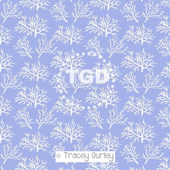 White Coral Pattern on Periwinkle digital paper Printable Tracey Gurley Designs
