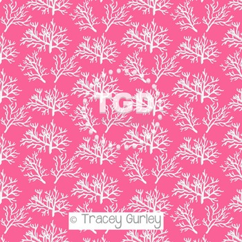White Coral Pattern on Pink digital paper Printable Tracey Gurley Designs