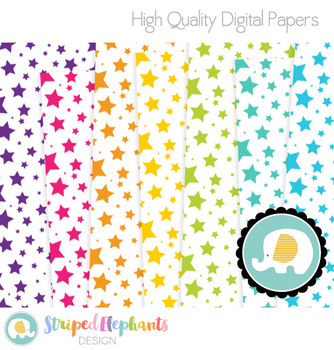 White Crazy Star Digital Papers