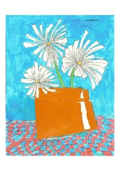 Elementary Visual Art Project - White Daisies in a Pot