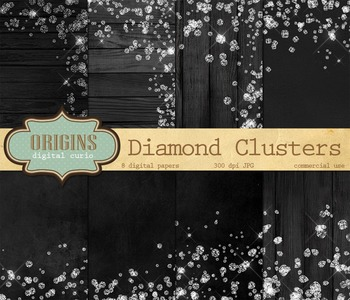 White Diamonds - Glam Backgrounds, Digital Paper for Scrapbooking or Web