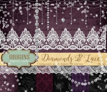 White Diamonds and lace clipart confetti strands overlays embellishments