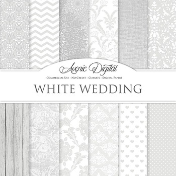White Digital Paper patterns, save the date, bridal, lace scrapbook background