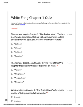 White Fang Chapter 1 Quiz PDF