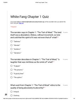 White Fang Chapter 1 Quiz PDF