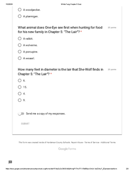 White Fang Chapter 5 Quiz PDF