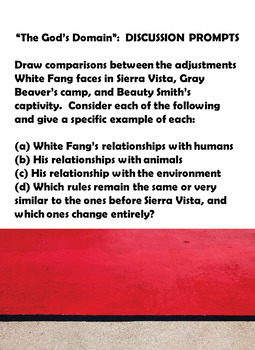 White Fang:  Discussion Prompts