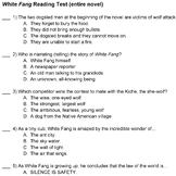 White Fang Reading Test (comprehension only)