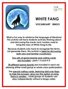 White Fang Vocabulary Bingo