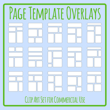 White Filled Page Template Overlays Clip Art Set for Commercial Use