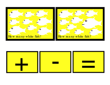 White Fish How Many Addition Numbers Up to 10 Plus Minus Equals Emergent Reader
