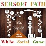 White Floor Sensory Path, Happy Hopscotch, Printable floor decals for Nursery