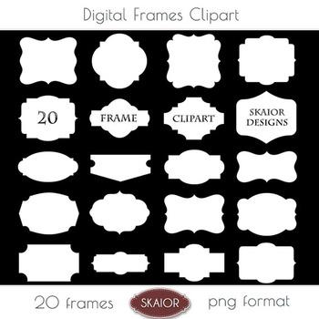 White Frames Clipart Borders Clipart Scalloped Bracket Printable Scrapbooking