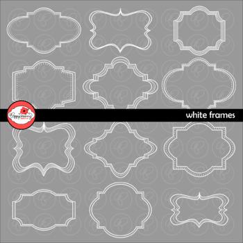 White Frames (Set 01) Clipart by Poppydreamz