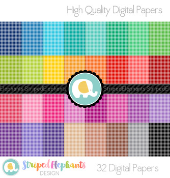 White Gingham Digital Papers