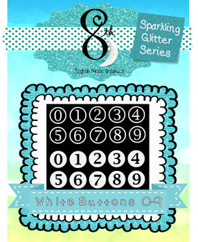 White Glitter Number Buttons 0 - 9