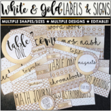White & Gold Editable Labels - Multiple shapes/sizes - Mix/Match