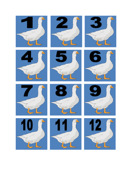 White Goose Numbers with Background for Calendar or Math Activity