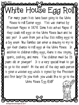 White House Easter Egg Roll (Comprehension, Math, and Writing)