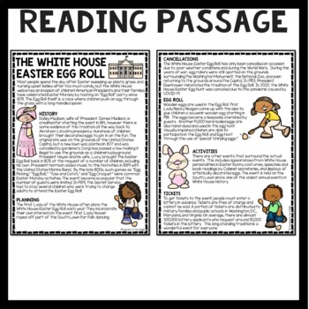White House Easter Egg Roll Reading Comprehension Worksheet, Spring