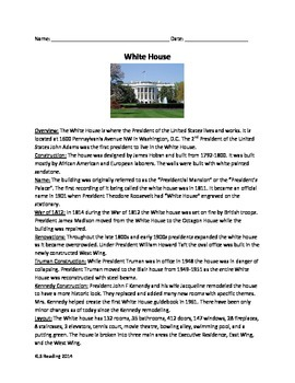 White House - Review article questions time line vocabulary word search PDF