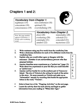 White Jade Tiger by Julie Lawson: Novel study for Grades 5-7