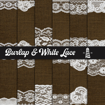 White Lace And Burlap Digital Paper