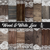 White Lace And Wood Digital Paper