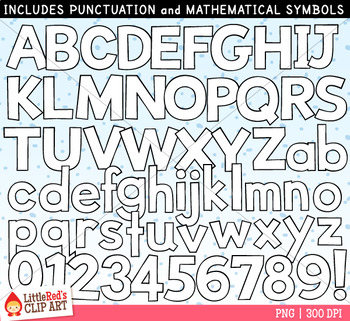 White Letters and Numbers Clip Art