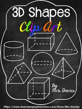 White Line 3D Shapes For Chalkboard Backgrounds Mrs Davies