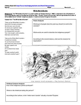 White Man's Burden Handout- Imperialism, Kipling, Political Cartoons