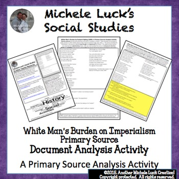 White Man's Burden Imperialism Primary Source Analysis Activity