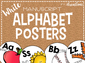 White Manuscript Alphabet Posters Round