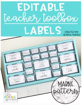 White Marble Teacher Toolbox Labels (EDITABLE)
