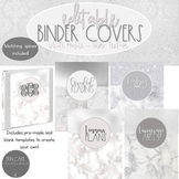 White Marble and Silver Metallic EDITABLE Binder Covers