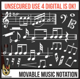 White Music Notes MOVABLE Digital Pieces, Musical Notation Clip Art for Digital