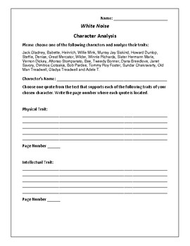 White Noise - Character Analysis Activity - Don DeLillo