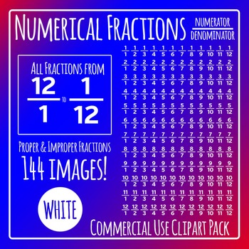 White Numerical Fractions - Numerator and Denominator Commercial Use Clip Art