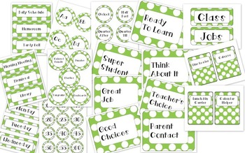 Green with White Polka-Dots Classroom Decor